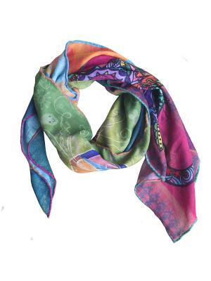 Сезонный платок с арт-принтом Кэтс квартет Оланж Ассорти. Цвет: голубой
