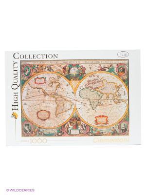 Пазл Старинная карта мира Clementoni. Цвет: оранжевый, белый, бирюзовый