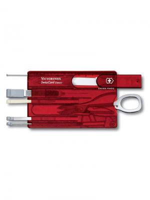 Швейцарская карточка  SwissCard Classic, 10 функций, полупрозрачная красная. Victorinox. Цвет: красный