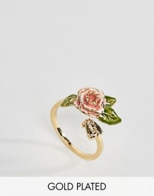 Bill Skinner Позолоченное кольцо в винтажном стиле с розой. Цвет: золотой
