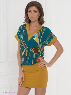 Платье Klimini. Цвет: горчичный, морская волна