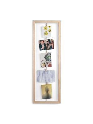 Фоторамка с зажимами для 7 фото CLOTHESLINE натуральное дерево Umbra. Цвет: бежевый