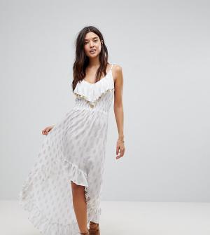 Akasa Пляжное платье макси с монетками. Цвет: белый