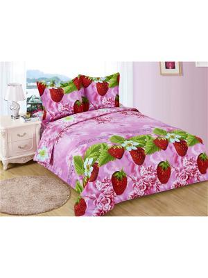 Постельное белье Yagodka 2,0 сп.Euro Amore Mio. Цвет: розовый, зеленый, красный
