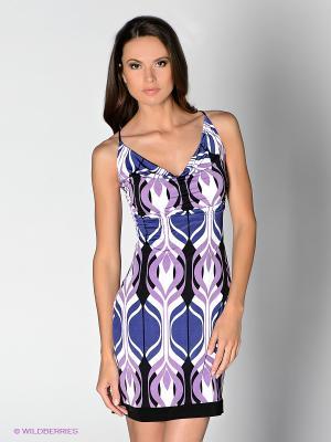 Платье Analili. Цвет: синий, сиреневый, белый