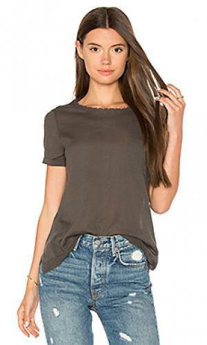 Рваная футболка с карманом Autumn Cashmere. Цвет: темно-зеленый