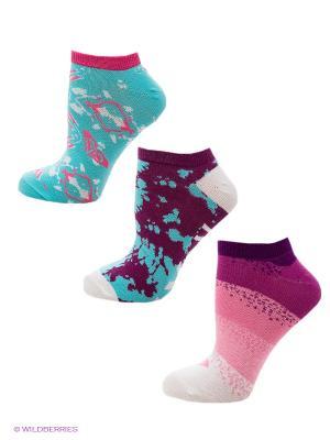 Носки, 3 пары 3PK TIE DYE GRUNGE NS ROXY. Цвет: голубой, фиолетовый, розовый