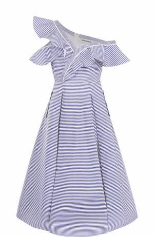 Приталенное платье асимметричного кроя в полоску self-portrait. Цвет: голубой