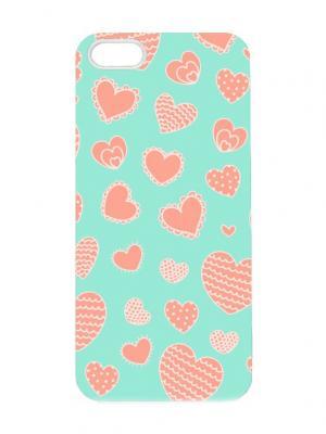 Чехол для iPhone 5/5s Сердца на бирюзовом Chocopony. Цвет: лазурный, бирюзовый, коралловый