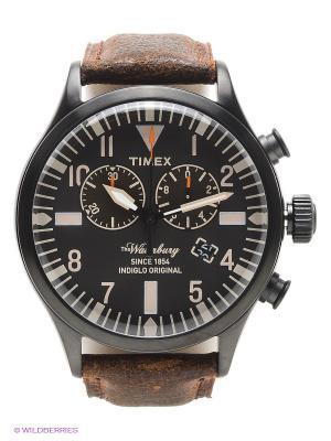 Часы TIMEX. Цвет: черный, коричневый