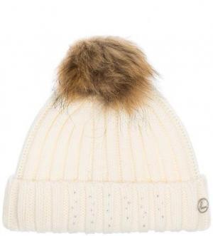 Вязаная шапка с клеевым декором LUHTA. Цвет: молочный