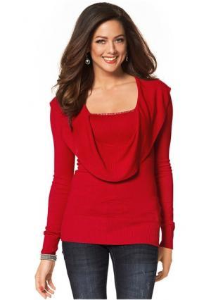 Пуловер MELROSE. Цвет: красный, черный