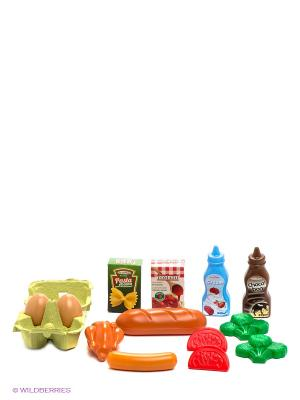 Набор продуктов в сетке Ecoiffier. Цвет: зеленый, голубой, оранжевый