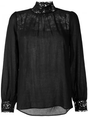 Блузка с кружевными вставками Masscob. Цвет: чёрный