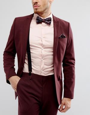 ASOS Комплект из галстука-бабочки, платка для нагрудного кармана и подтяжек. Цвет: черный