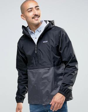 Patagonia Черная водонепроницаемая куртка через голову Torrentshell. Цвет: черный