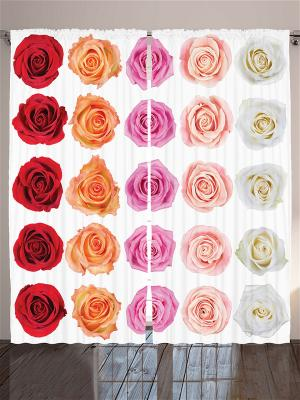 Фотошторы Пышные цветы, 290*265 см Magic Lady. Цвет: бежевый, молочный, оранжевый, розовый, персиковый, желтый, белый, бронзовый