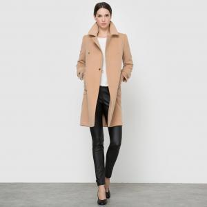 Пальто длинное MOLLY BRACKEN. Цвет: темно-бежевый,черный