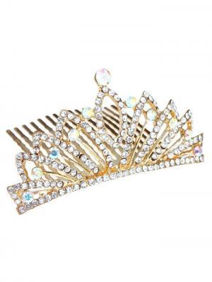 Гребень корона с камнями Bizon. Цвет: золотистый