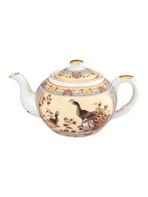 Чайник с металлическим ситом Павлин на бежевом Elan Gallery. Цвет: коричневый, бежевый, золотистый