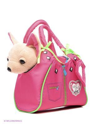 Плюшевая собачка Чихуахуа Zipper, с сумкой 20 см 12/12 Simba. Цвет: розовый, бежевый