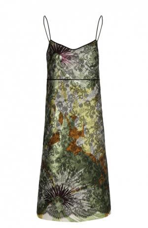 Двухслойное платье-комбинация Rochas. Цвет: зеленый
