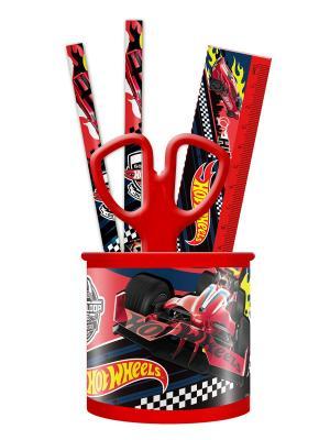 Набор настольный металлический 4 предмета Hot Wheels Mattel. Цвет: черный, красный, синий