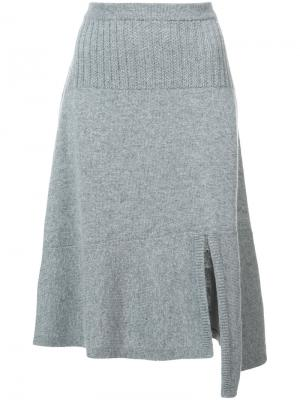 Асимметричная трикотажная юбка Barrie. Цвет: серый