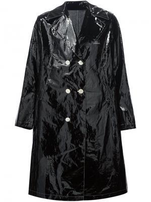 Двубортное пальто с заостренными лацканами Undercover. Цвет: чёрный