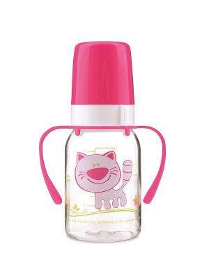 Бутылочка 120 мл пл. с ручками Canpol babies. Цвет: розовый