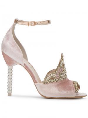 Босоножки с королевской тиарой кристаллами Sophia Webster. Цвет: розовый и фиолетовый
