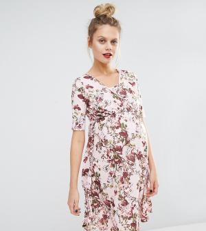 Bluebelle Maternity Платье с цветочным принтом и запахом для беременных кормящих Bluebel. Цвет: мульти