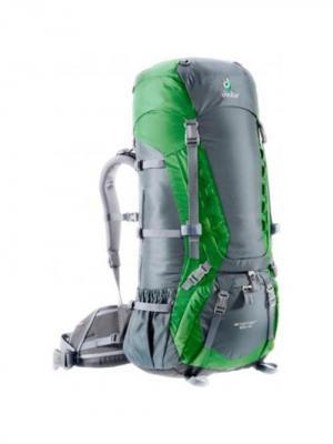 Рюкзак Deuter 2015 Aircontact 65 + 10 grante-emerald. Цвет: зеленый,серый
