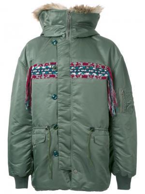 Куртка с капюшоном Facetasm. Цвет: зелёный