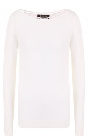 Пуловер из смеси кашемира и шелка с хлопком Loro Piana. Цвет: белый