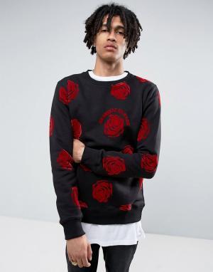 Criminal Damage Черный свитшот с принтом роз. Цвет: черный