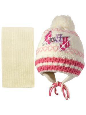 Шапка и шарф Kolad. Цвет: кремовый