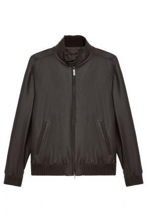 Кожаная куртка цвета хаки BRIONI. Цвет: коричневый