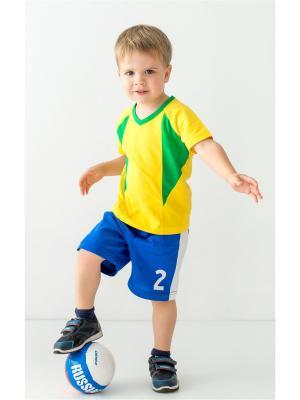 Комплект (футболка, шорты) MilleFaMille. Цвет: синий, желтый, зеленый