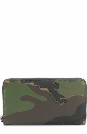 Комбинированное портмоне на молнии с отделениями для кредитных карт и монет Valentino. Цвет: темно-зеленый