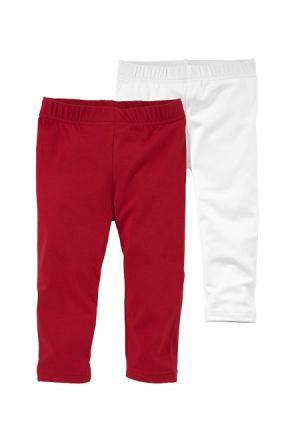 Легинсы, 2 пары KIDOKI. Цвет: красный+белый, темно-синий+белый