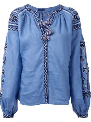 Блузка с вышивкой Vita Kin. Цвет: синий