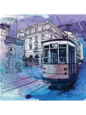 Art Холст Вечерняя прогулка  25х25 см DECORETTO. Цвет: голубой, фиолетовый, синий