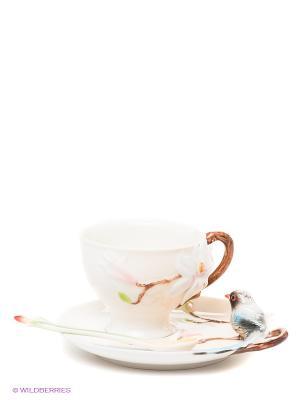 Чайная пара Магнолия Pavone. Цвет: белый, серый, голубой