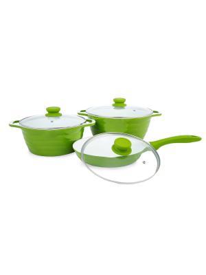 Набор кастрюль 4 и 7 л со сковородой 24 см (газ/электро/индукция) Peterhof. Цвет: зеленый