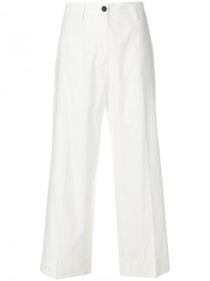 Широкие укороченные брюки Barena. Цвет: белый