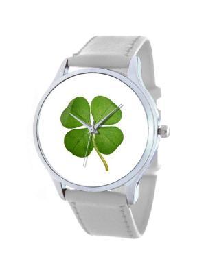 Дизайнерские часы Четырёхлистник Tina Bolotina. Цвет: зеленый, белый