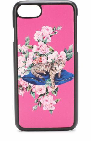 Кожаный чехол для iPhone 7 с принтом Dolce & Gabbana. Цвет: розовый