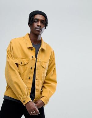 ASOS Джинсовая oversize-куртка горчичного цвета. Цвет: желтый