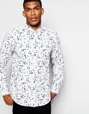 Wincer & Plant Строгая рубашка зауженного кроя с принтом ноты. Цвет: белый